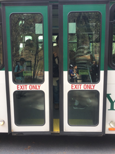 two doors that say exit only