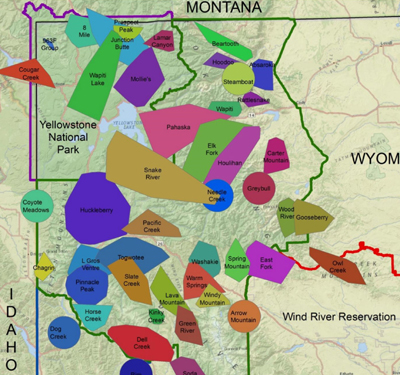 map of most of Wyoming with locations of wolf packs
