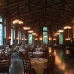 24 foot high ceiling, tables, chairs and tall windows