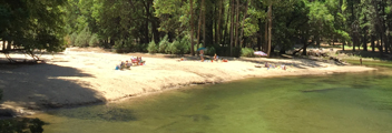 sandy beach and river