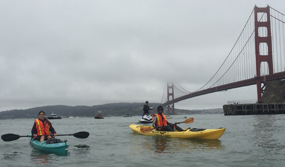 two kayakers with the Golden gate bridge behind them