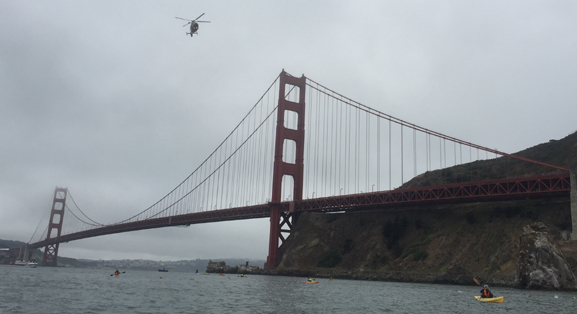 helicopter over the Golden gate bridge