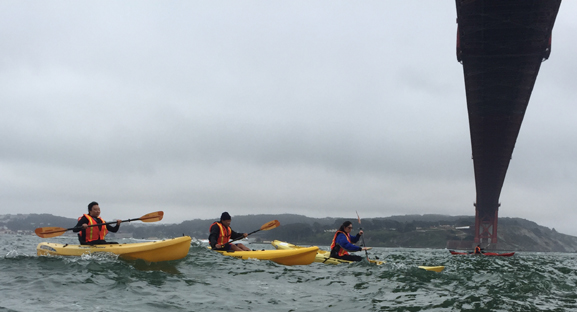 kayakers and Golden gate bridge above them