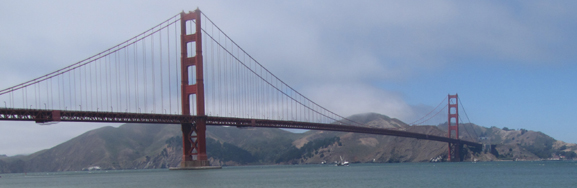 Golden Gate bridge and shoreline to Horseshoe Cove