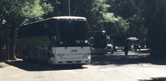 row of tour buses in a parking lot