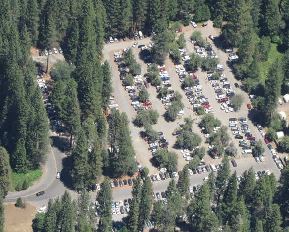 rows of parked vehicles