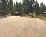 wide gravel driveway area at cabins