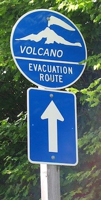 sign that says volcano evacuation route