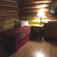 bed, bedside table, dresser