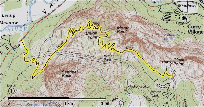 topographical type map showing cliffs, trail, road
