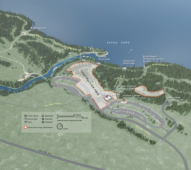 map of a edge of lake and construction zone