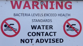 warning sign water contact not advised