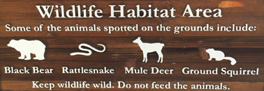 sign that lists animals you might see on the grounds of the Ahwahnee Yosemite hotel