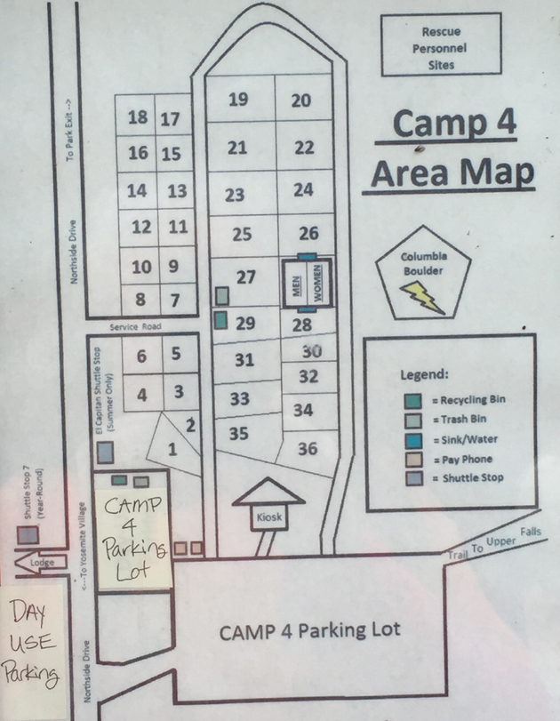 map of Camp Four campground Yosemite National park