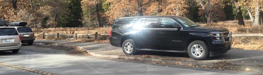 SUV parked on Yosemite bike path