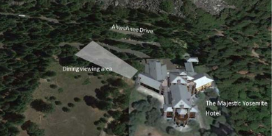 NPS photo with an overhead view of hotel grounds with a drawing of an area showing tree removal zone