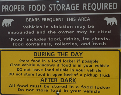 sign that describes proper food storage