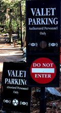 signs that say valet parking and do not enter