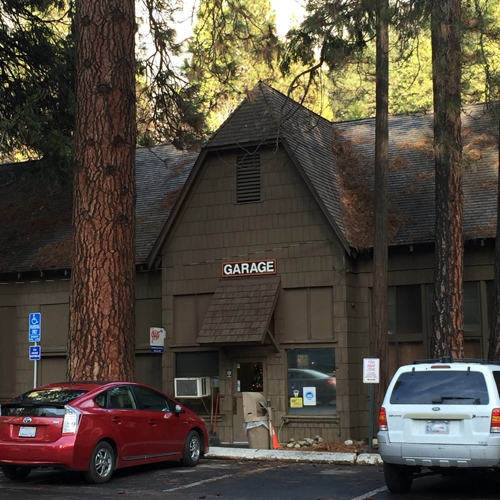 building with a large sign that says garage