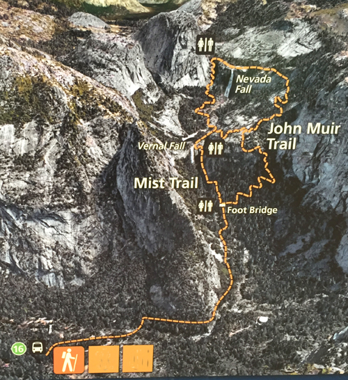 Yosemite cliffs, waterfalls, trail on a map