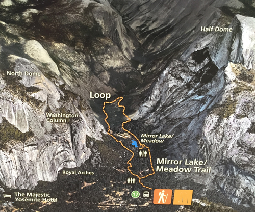 map showing cliffs, trails on Mirror Lake loop