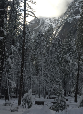 camp 4 in Yosemite showing snow covered campsites and  cliffs above