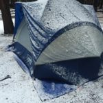 tent with snow on it, including out beyond where the rainfly could have protected it