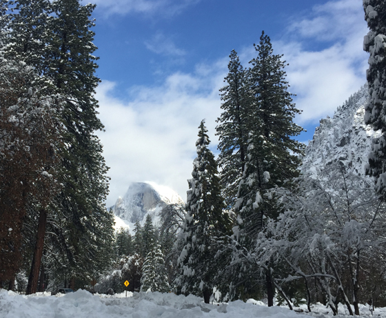 Half Dome covered in snow
