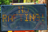 roadside electronic message board that says no rafting