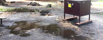 large puddles in campsite