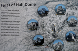 multiple photos of Half Dome and a map