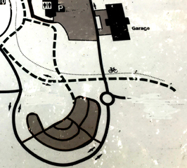 map with roads and notation about the Yosemite Valley garage