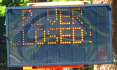 roadside electronic message board that says rover closed!