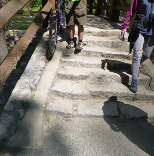 bike tires on concrete strip and people walking on the stairs