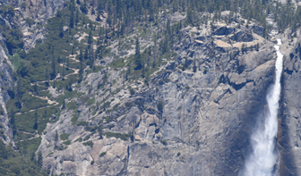 trail switchbacks and top of Yosemite Fall