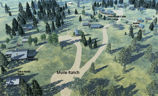 drawing of roads, parking and buildings and Grand Teton National park Murie Ranch