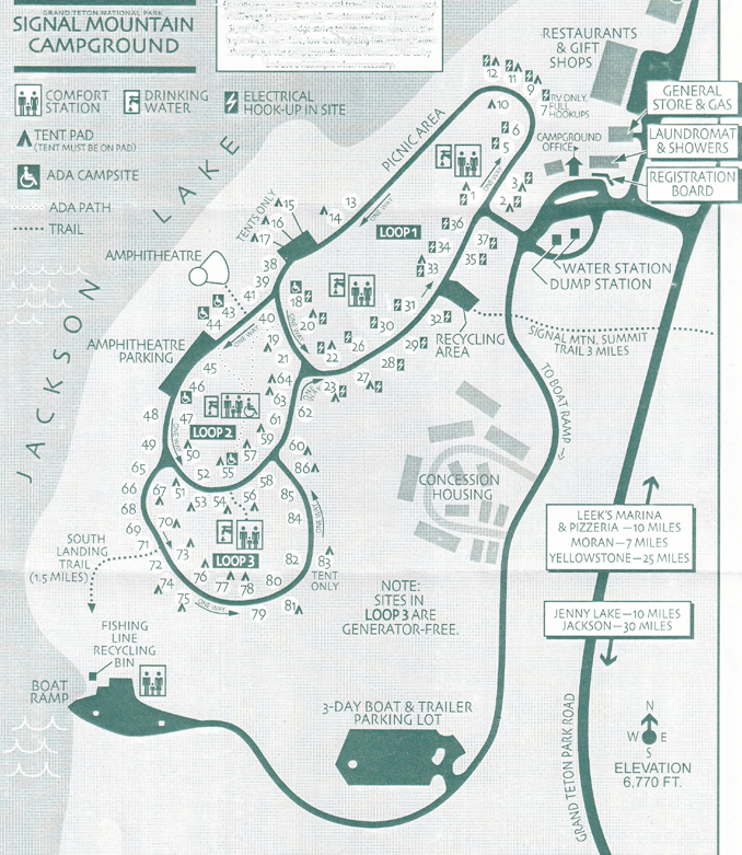 map of signal mountain campground, Grand Teton National Park.: map with roads, campsites, showers, restaurant, gift shop, picnic area, laundromat
