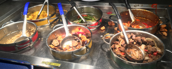 large pans of entrees