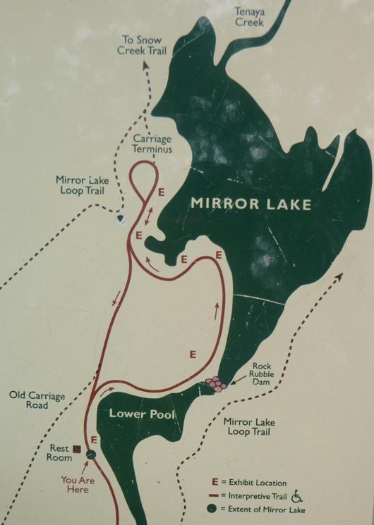map of Mirror Lake, Yosemite with trails around it