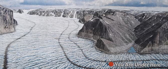 Bridalveil Fall hanging valley interpretive sign extent of glacier