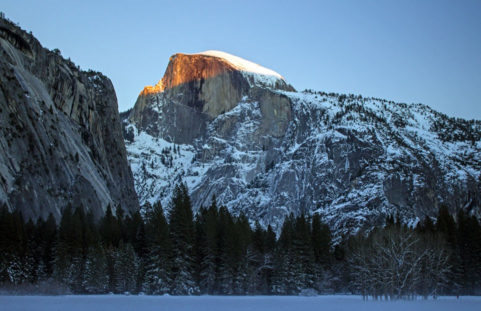 Half Dome with snow on Ahwahnee Meadow