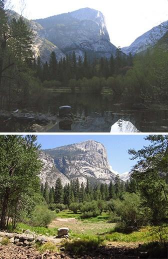 two photos next to each other of Mirror Lake