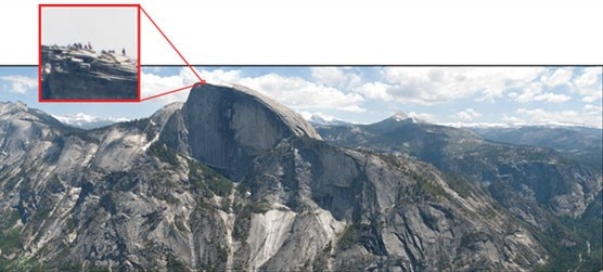 Half Dome from North Dome with inset of people on the top