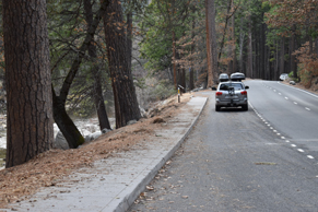 paved turnout to side of road