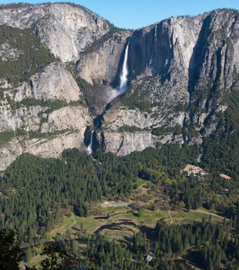 Yosemite falls and part of Yosemite Valley