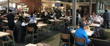 many tables in a cafeteria