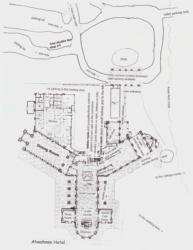 map of ground floor and surrounding area of the Ahwahnee Hotel, Yosemite National Park