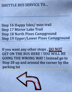 sign listing bus stops served from Yosemite shuttle bus at stop 13
