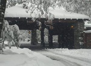 snow covered hotel  porte cochere