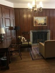 paneled room with fireplace